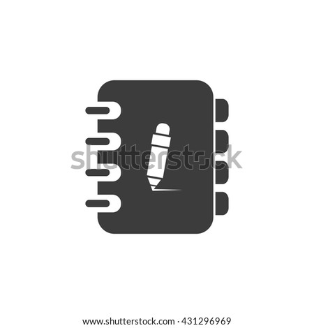 Notebook icon. Notebook Vector isolated on white background. Flat vector illustration in black. EPS 10 - stock vector