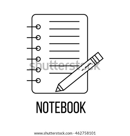 Notebook icon or logo line art style. Vector Illustration isolated on white background.