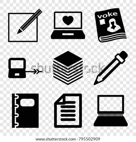 Notebook icons. set of 9 editable filled notebook icons such as laptop connection, laptop with heart, magazine, notebook, paper and pen, pencil, paper