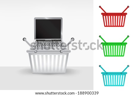 notebook in shopping basket cart colorful set concept vector - stock vector