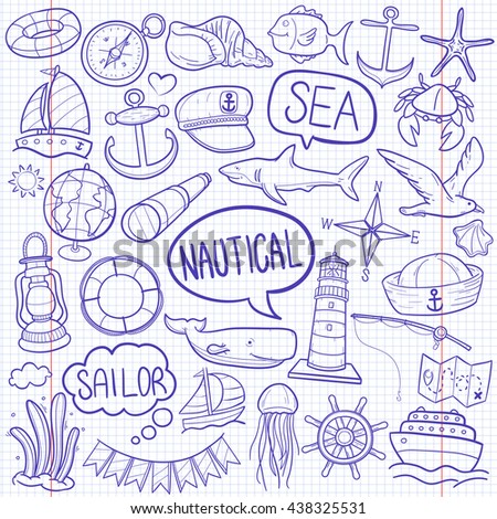 Notebook Nautical Sea Sailor Doodle Icons Hand Made