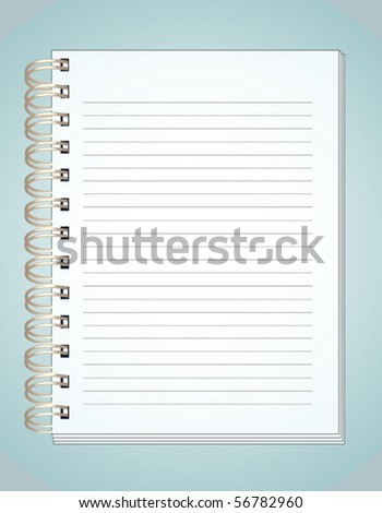 Notebook on blue background - stock vector
