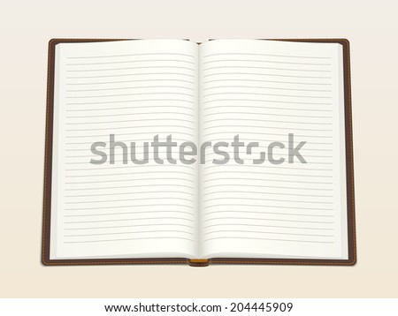 Notebook, opened in the middle. Realistic vector illustration. - stock vector