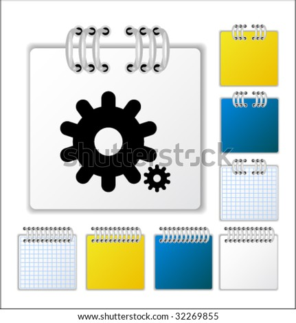 Notebook page with icon. Vector illustration. - stock vector