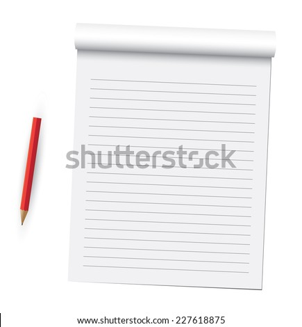 Notebook pages and pen. - stock vector