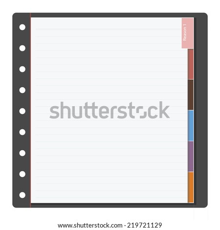 notebook paper and colorful bookmark - stock vector