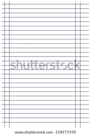 notebook paper background black lines  with margin vector - stock vector