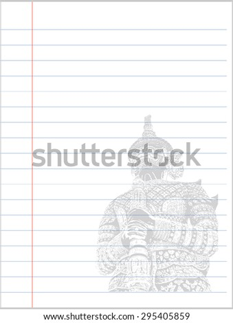 Notebook paper background, Giant of Thailand - stock vector