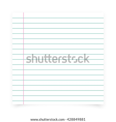 Notebook paper background. Sheet of paper in line icon. - stock vector