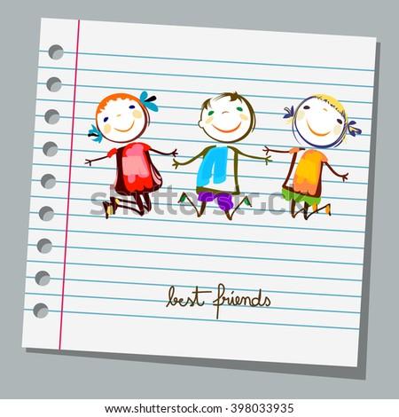 notebook paper best friends - stock vector