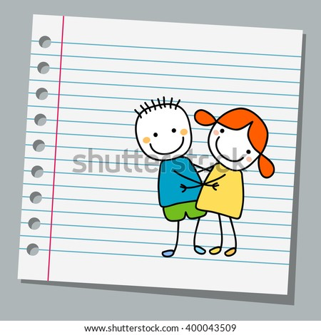 notebook paper cute couple - stock vector