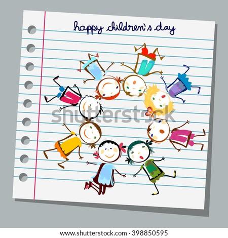 notebook paper happy children day - stock vector