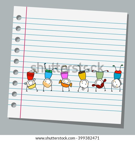 notebook paper happy kids playing