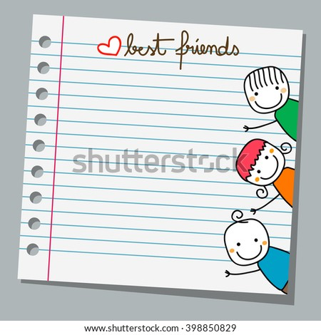 notebook paper happy kids playing, best friends - stock vector