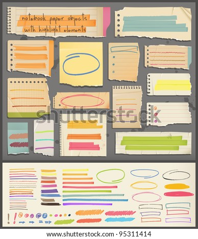 notebook  paper  objects & highlight elements - stock vector