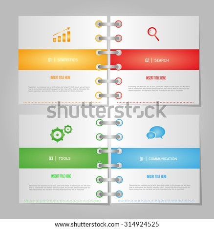 Notebook paper office document business - stock vector