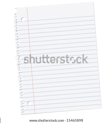 Notebook paper ripped from a spiral binding. - stock vector