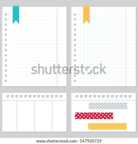 Notebook paper vector set - stock vector