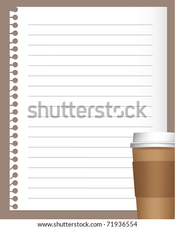 notebook paper with coffee or tea cup (jpg version is available) - stock vector