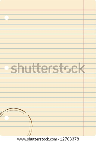 notebook paper with coffee stain - stock vector