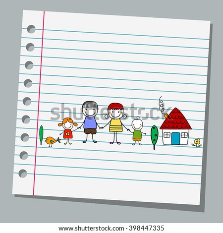 notebook paper with family - stock vector