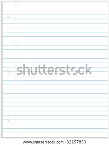 Notebook Paper with 3 hole punch - Vector Illustration