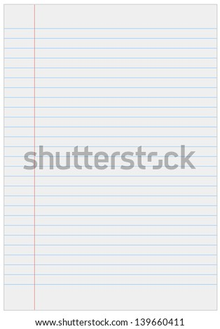 Notebook paper with lines - stock vector