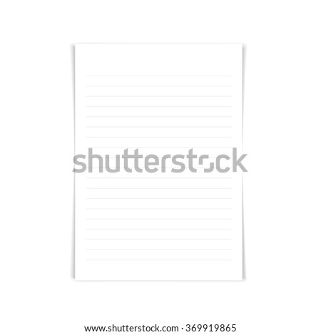 Notebook paper with lines, vector - stock vector