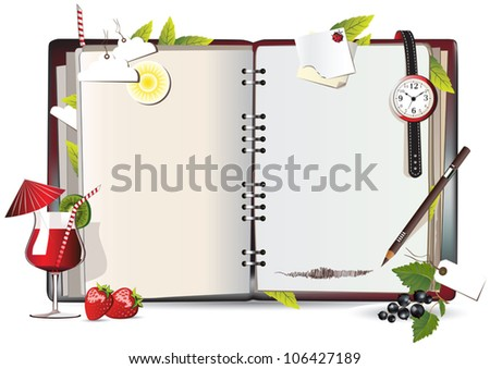 notebook red funny - stock vector