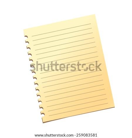 Notebook sheet. Flat design. Vector isolated - stock vector