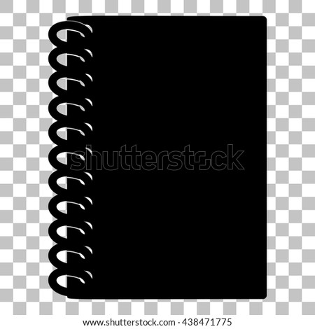 Notebook simple sign. Flat style black icon on transparent background. - stock vector