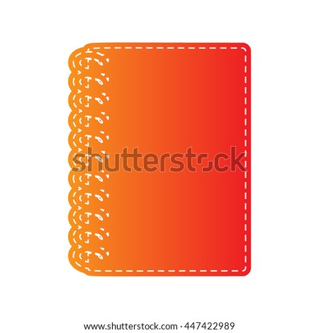 Notebook simple sign. Orange applique isolated. - stock vector