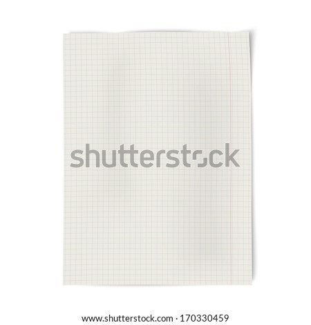 Notebook squared paper isolated on white background - stock vector
