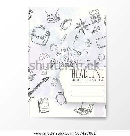 Notebook template with hand drawn education doodles. Vector editable notebook cover. - stock vector