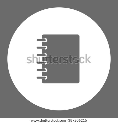 Notebook. Vector icon grey and white  - stock vector