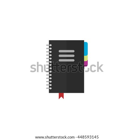 Notebook vector icon isolated on white background, flat black notepad organizer - stock vector
