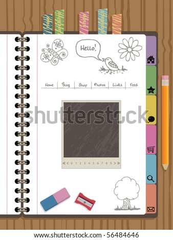 notebook web navigation with buttons and icons - stock vector