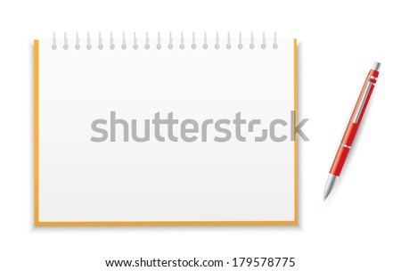 Notebook with a pen - stock vector