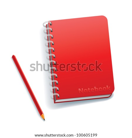 Notebook with a pencil on a white background - stock vector