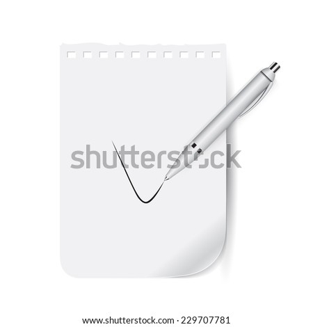 Notebook with an assignment, template - stock vector