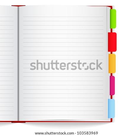 Notebook with bookmarks, vector eps10 illustration - stock vector