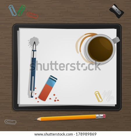 Notebook with drawing charts - stock vector