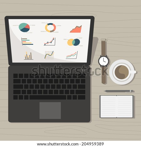 notebook with marketing graph and accessories on desk vector - stock vector
