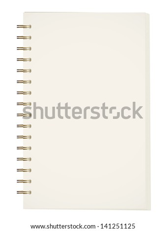 Notebook with metal binder on white background. Vector illustration