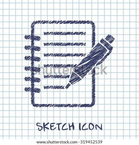 Notebook with pen doodle sketch icon. School vector illustration