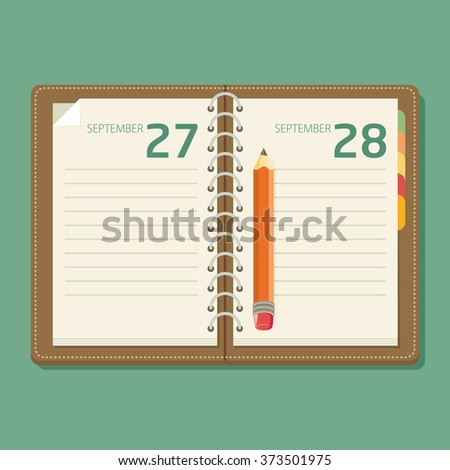 Notebook with pen. Flat design. - stock vector