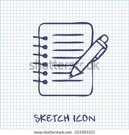 Notebook with pen icon - stock vector
