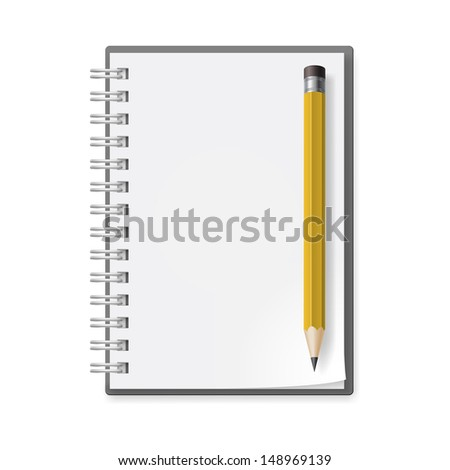 Notebook with pencil. Illustration on white background for design