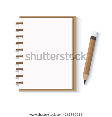 Notebook with pencil.. vector  - stock vector