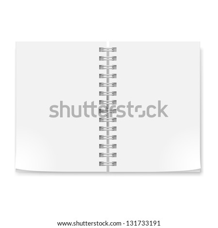 Notebook with sheets . Illustration on white background for creative design. - stock vector